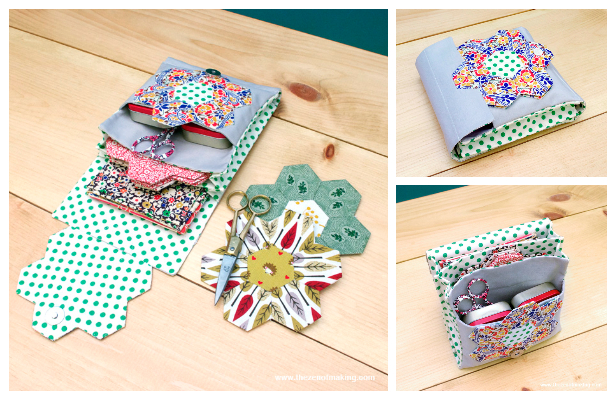DIY Quilted English Paper Piecing Travel Kit Free Sewing Pattern