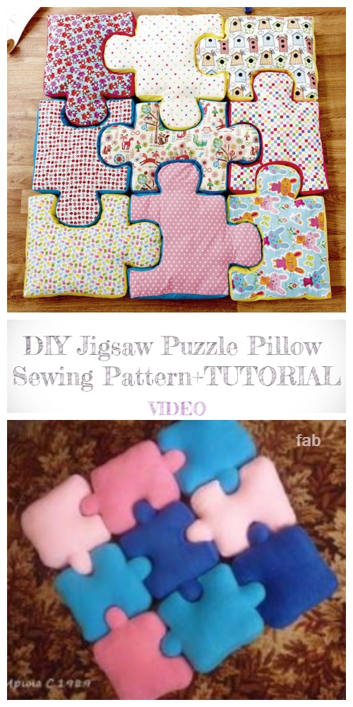 DIY Jigsaw Puzzle Pillow Free Sewing Pattern + Video