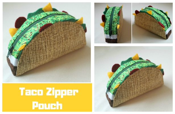 DIY Taco Zipper Pouch Free Sewing Pattern & Tutorial