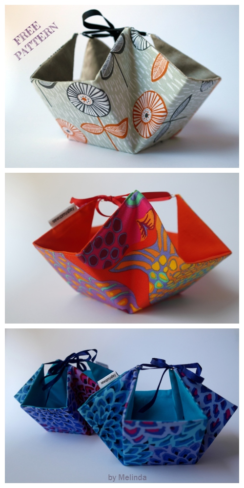 DIY Tie-Up Fabric Basket Free Sewing Pattern