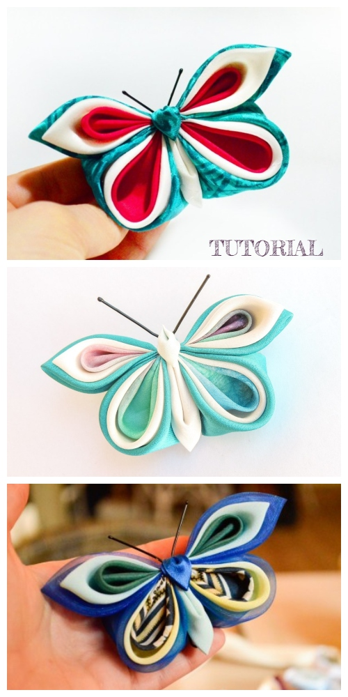 Kanzashi Satin Butterfly DIY Tutorial