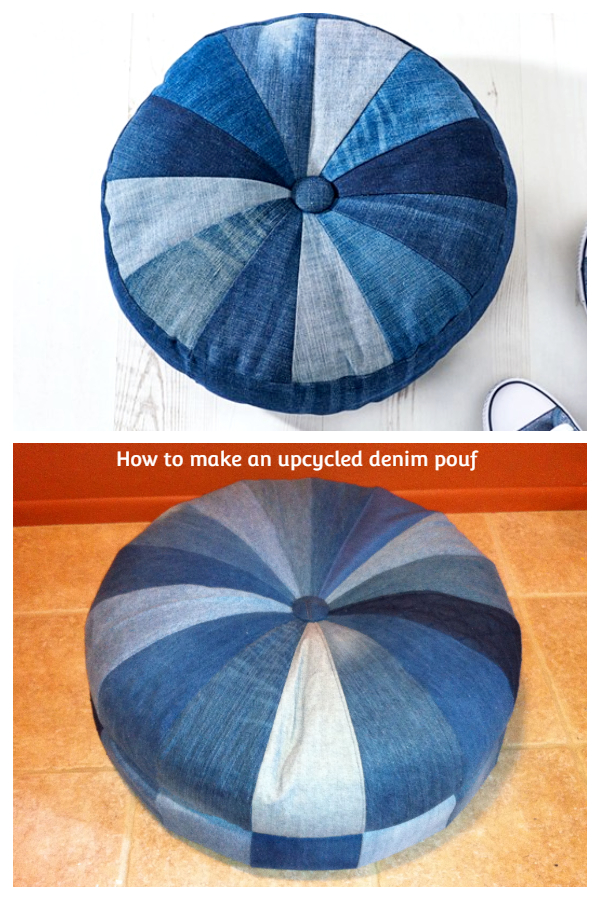 DIY Recycled Demin ottoman Free Sewing Patterns & Tutorials