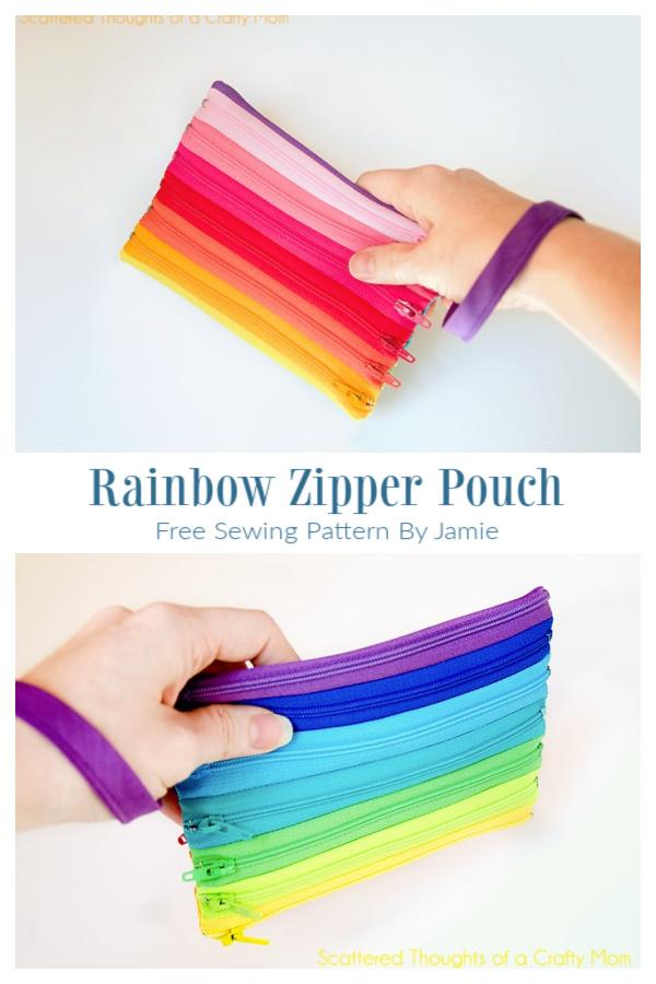 DIY All Rainbow Zipper Pouch Free Sewing Tutorial