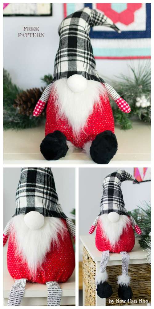 DIY Christmas Gnome Free Sewing Pattern & Tutorial