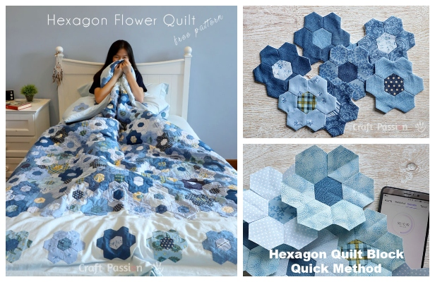 DIY Modern Hexagon Flower Quilt Duvet Free Sewing Pattern