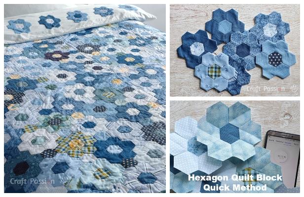 DIY Modern Hexagon Flower Quilt Duvet Free Sewing Pattern