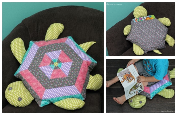 DIY Patchwork Turtle Pillow Free Sewing Pattern