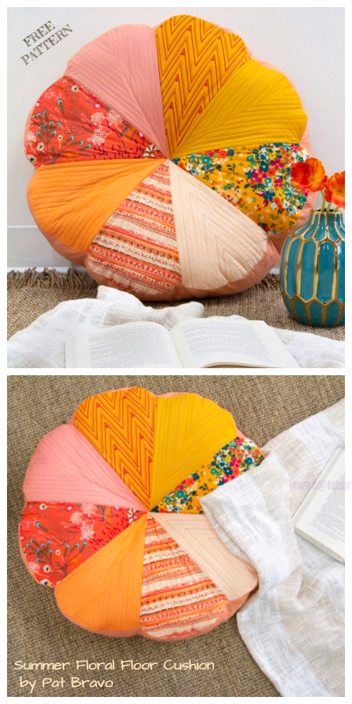 DIY Summer Floral Pillow / Floor Cushion Free Sewing Patterns