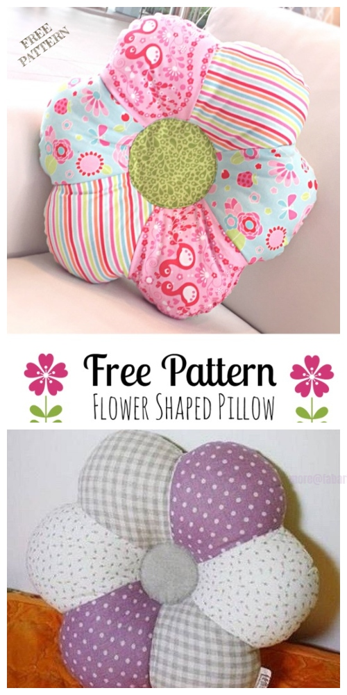 DIY Flower Shaped Pillow Free Sewing Patterns