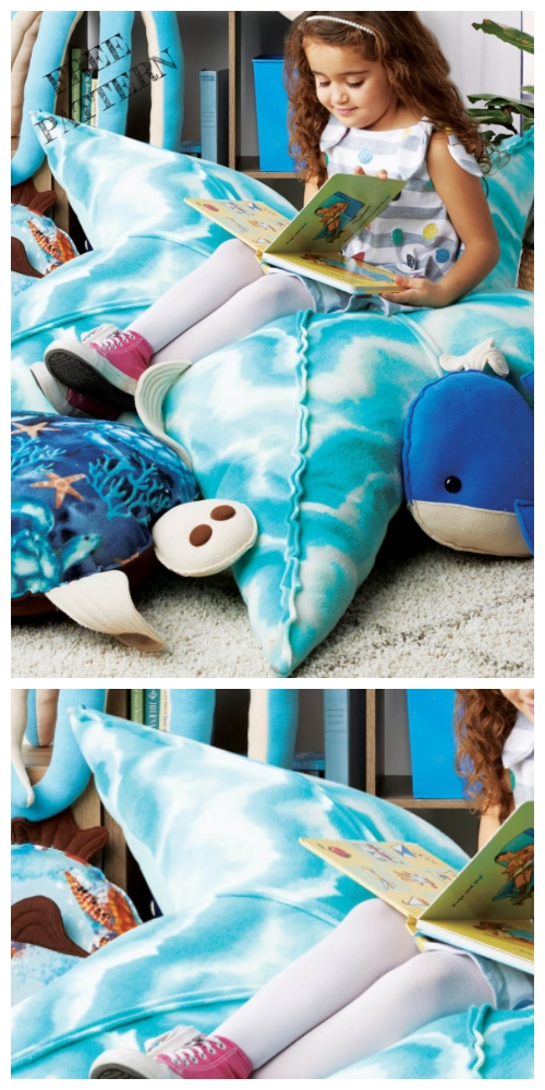 DIY Kids Starfish Floor Pillow Free Sewing Patterns