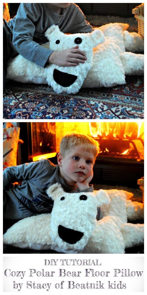 DIY Kids Polar Bear Floor Pillow Free Sewing Patterns