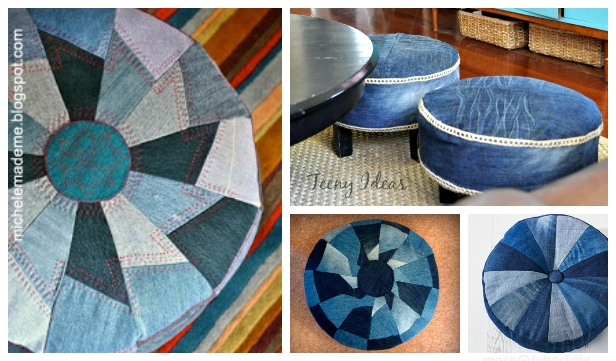 DIY Recycled Jean ottoman Free Sewing Patterns & Tutorials