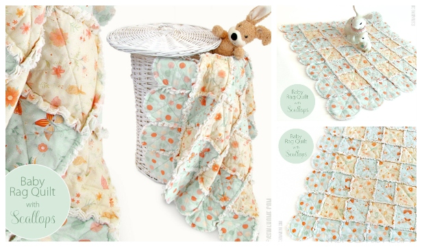 DIY Scalloped Baby Rag Quilt Free Sewing Pattern & Tutorial