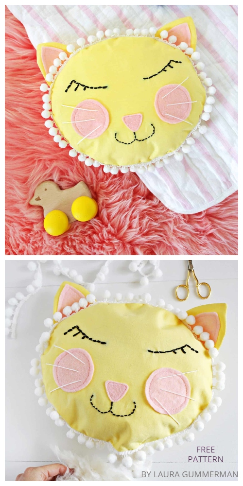 DIY Cat Face Pillow Free Sewing Patterns & Tutorials