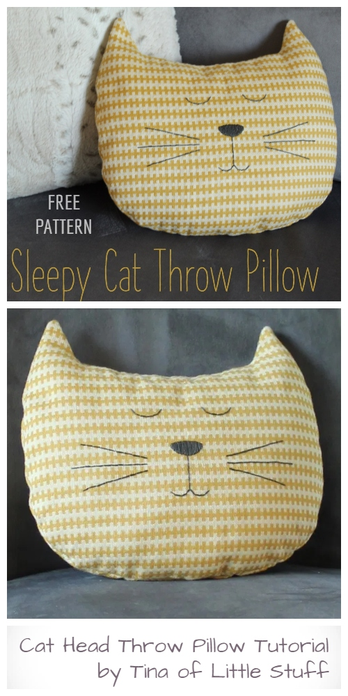 DIY Cat Head Throw Pillow Free Sewing Patterns & Tutorials