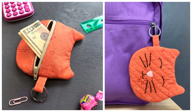 DIY Cat Zipper Pouch Free Sewing Pattern & Tutorial