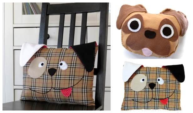DIY Fabric Puppy Dog Pillow Free Sewing Patterns