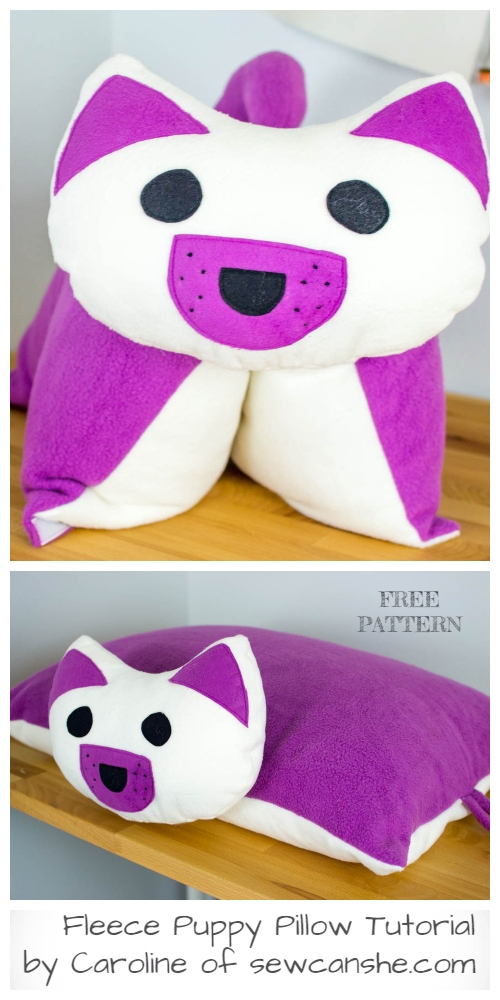 DIY Fleece Puppy Pillow Free Sewing Pattern & Tutorial