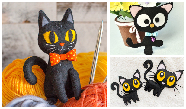 DIY Felt Halloween Black Cat Softie Free Sewing Pattern&Tutorial