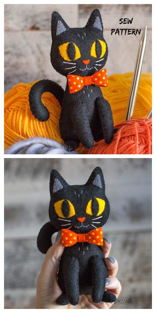 DIY Felt Halloween Black Cat Softie Free Sewing Pattern&Tutorial