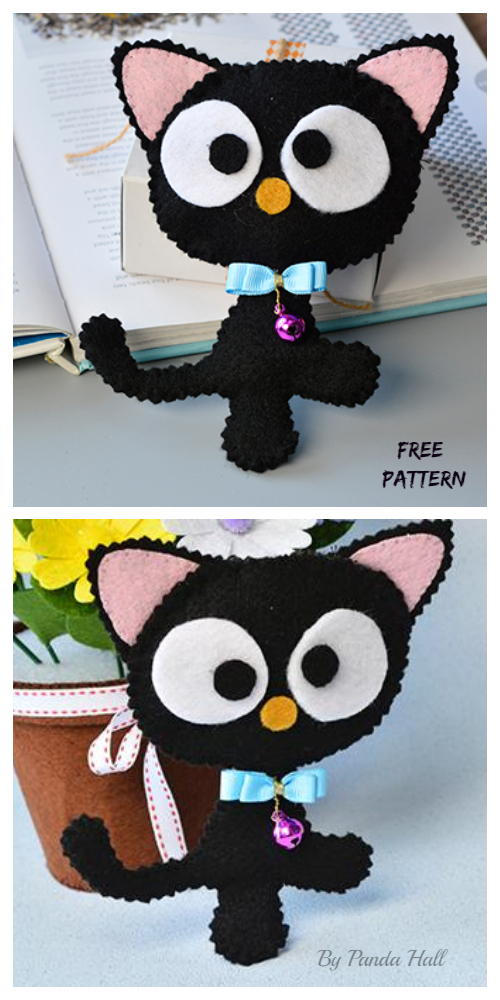 DIY Felt Black Cat Softie Free Sewing Pattern&Tutorial