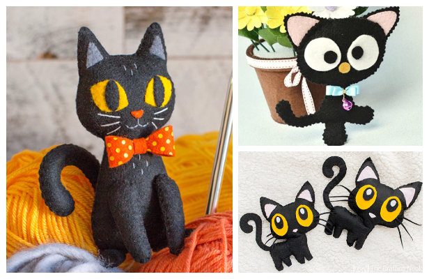 DIY Felt Halloween Black Cat Free Sewing Patterns