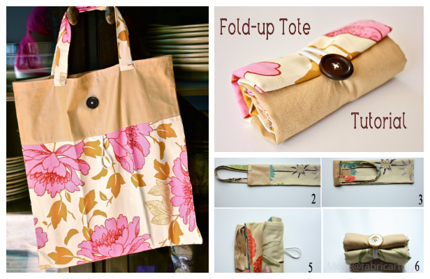 DIY Fold-Up Tote Bag Free Sewing Pattern & Tutorial