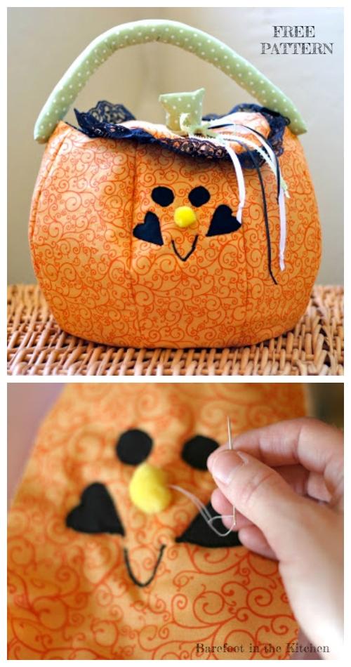 DIY  Halloween Pumpkin Trick or Treat bag Free Sewing Patterns