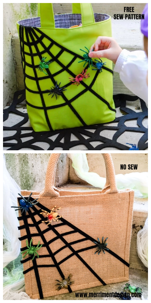 DIY Halloween Spiderweb Treat Bag Free Sewing Patterns