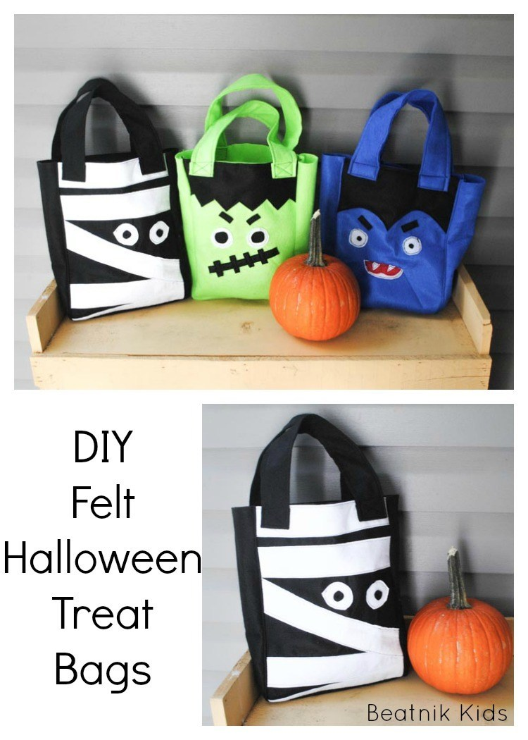 DIY Felt Halloween Treat Bags Free Sewing Patterns