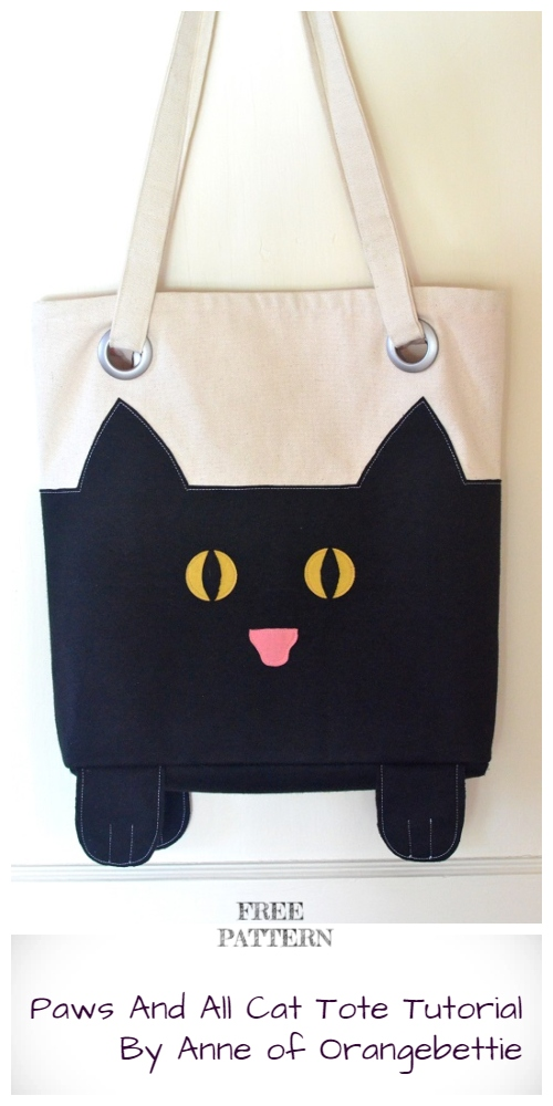 DIY Halloween Cat Tote Bag Free Sewing Patterns