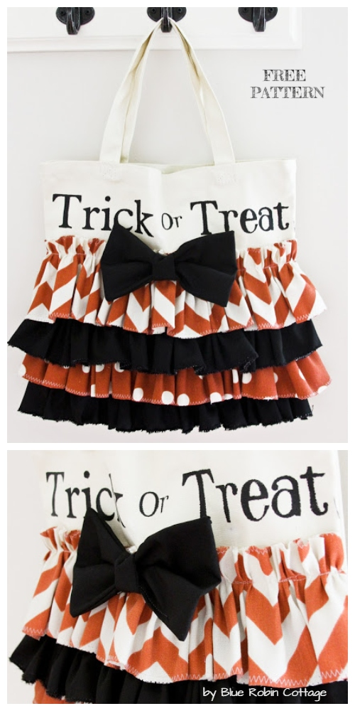 DIY Halloween Pumpkin Trick or Treat bag Free Sewing Patterns