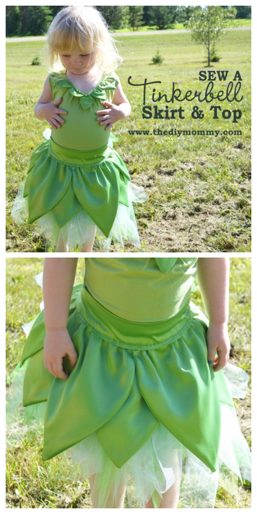 DIY Halloween Tinkerbell Skirt & Top Costume Tutorial