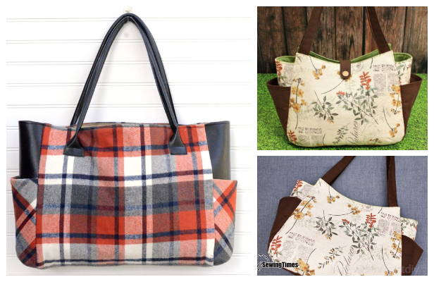 DIY Large Plaid Flannel Fall Tote Bag with Side Pocket Free Sewing Pattern