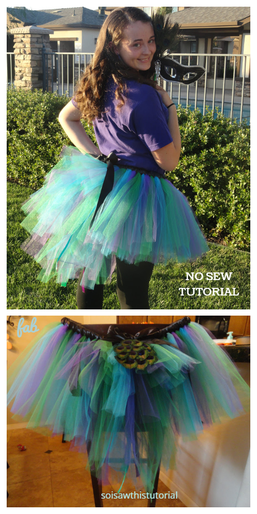 DIY NO SEW Adult Peacock Tutu Costume Free Tutorial