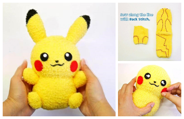 DIY Sock Pikachu Toy Free Sewing Pattern +Video