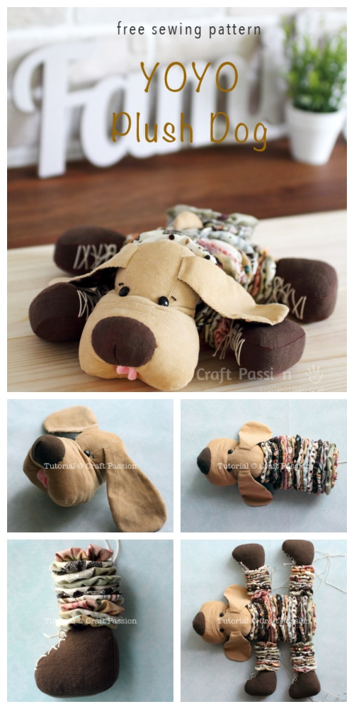 DIY YoYo Plush Dog Free Sewing Pattern & Tutorial
