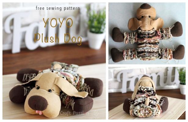 DIY YoYo Plush Dog Free Sewing Pattern & Tutorial