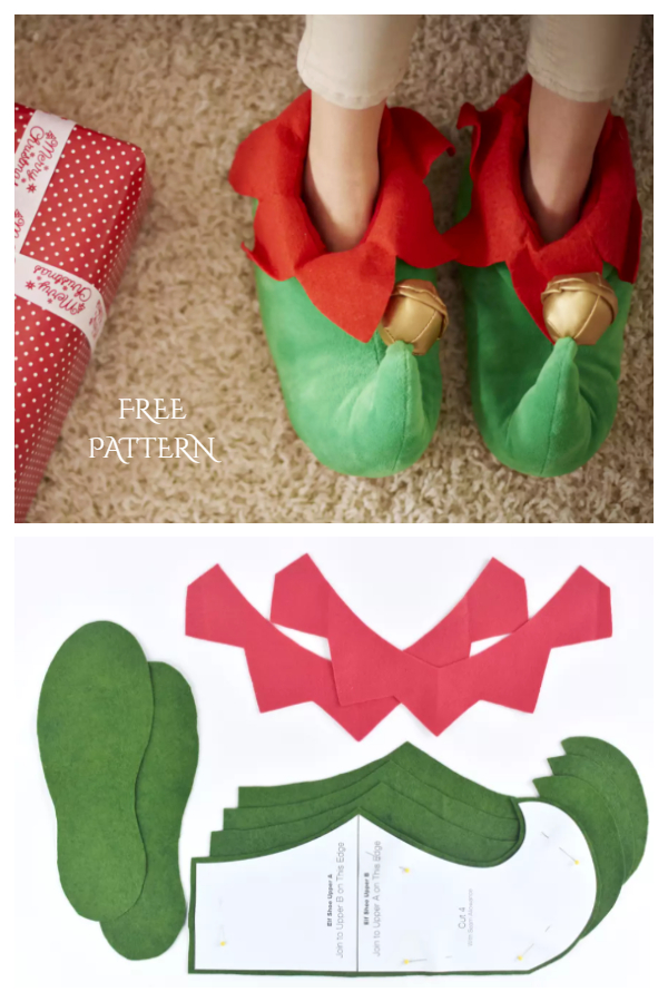 DIY Christmas Elf slippers Free Sewing Pattern + Tutorial