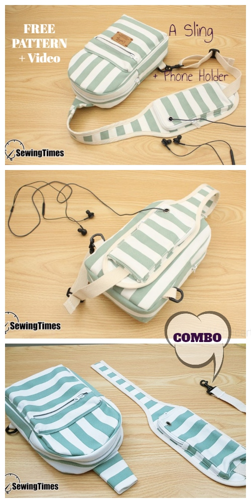 DIY Cellphone Holder Sling Bag Combo Free Sewing Pattern + Video