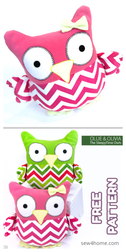 DIY The SleepyTime Stuffed Fabric Owl Toy Free Sewing Patterns & Tutorial