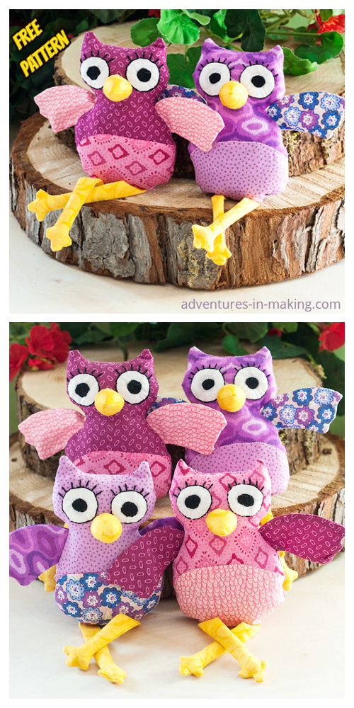 DIY Fabric Owl Plushies Toy Free Sewing Patterns & Tutorial
