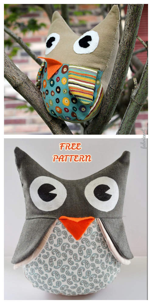 DIY Fabric Owl Stuffies Toy Free Sewing Patterns & Tutorial