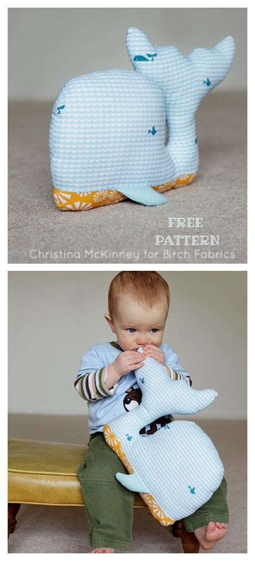 DIY Fabric Whale Of A Time Plushie Free Sewing Pattern + Tutorial