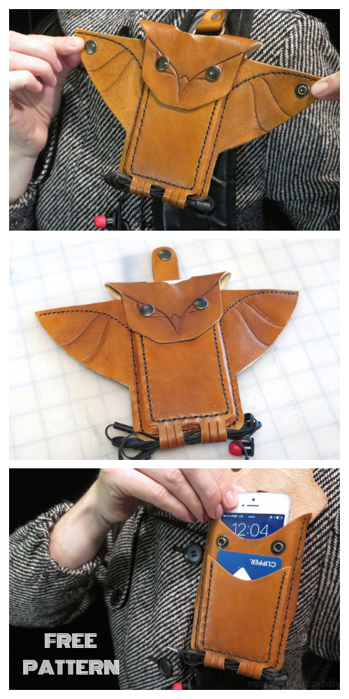 DIY Leather Owl Phone Holder Free Sewing Pattern + Tutorial