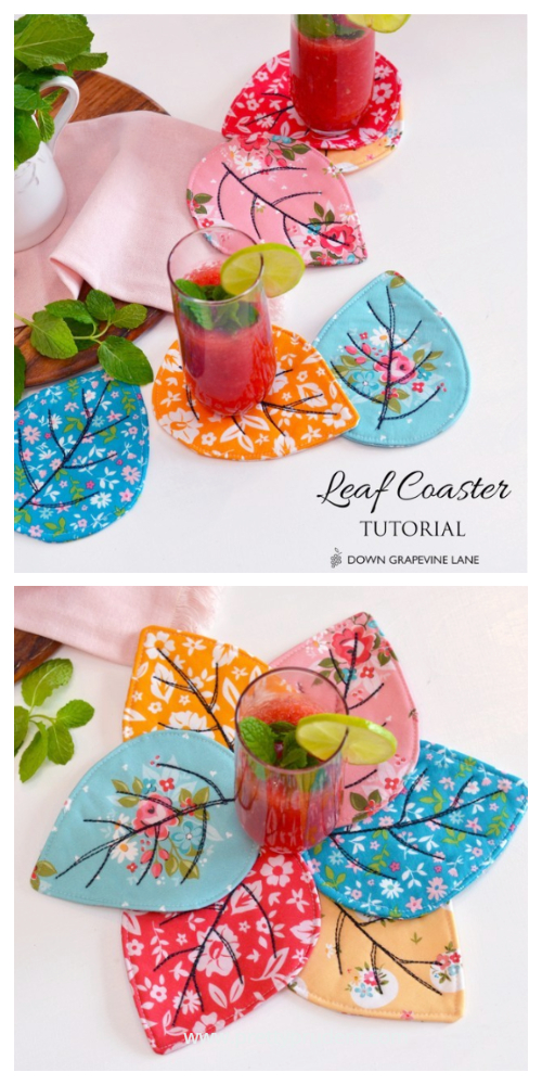 DIY Quilted Leaf Coaster  Free Sewing Patterns