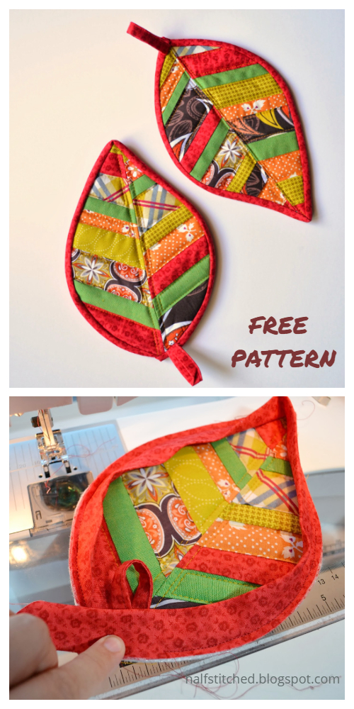 DIY Quilted Leaf Potholders  Free Sewing Patterns