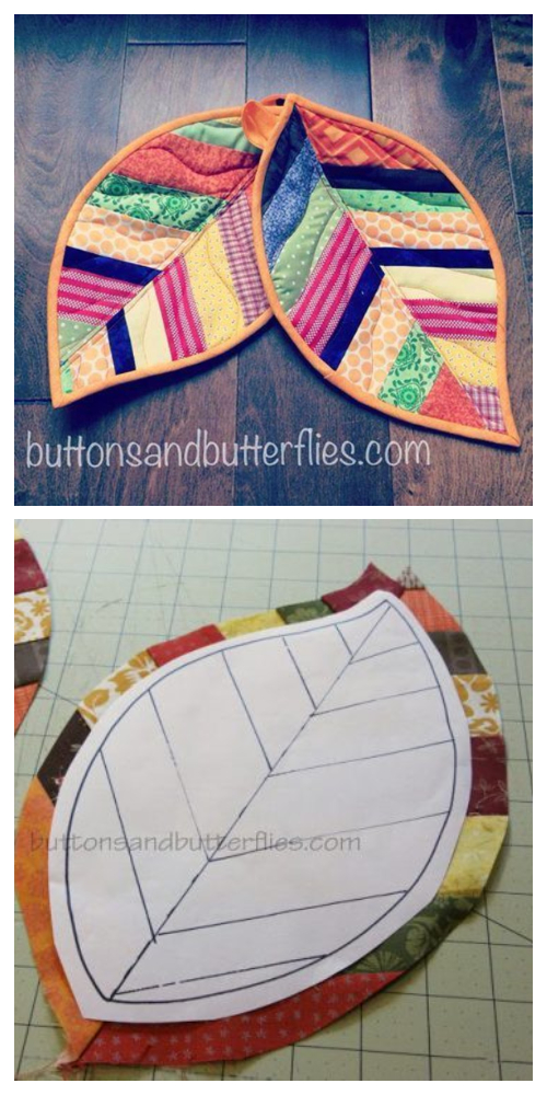 DIY Quilted Leaf Potholders Sewing Patterns