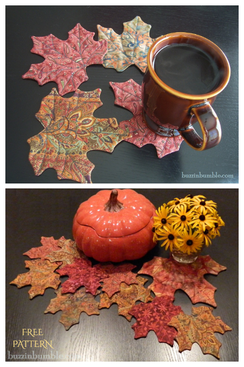 DIY Quilt Maple Leaf Coaster Free Sewing Patterns