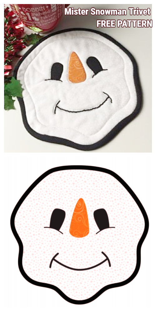 DIY Quilted Snowman Mug Rug Free Sewing Patterns